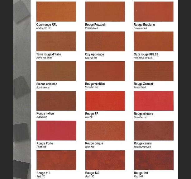 pigment ocre de france rouge sang de boeuf oxyde de fer ocre rouge